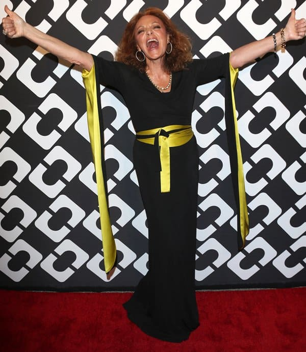 Diane von Furstenberg looking gloriously happy on the red carpet of the event