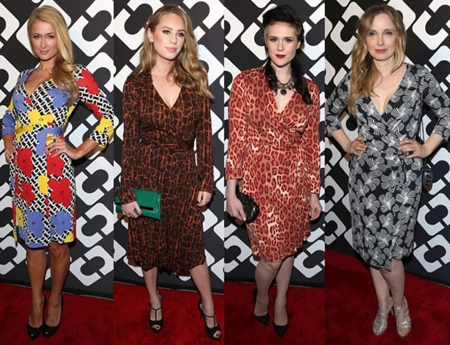 """From L-R: Paris Hilton, Dylan Penn, Kate Nash, and Julie Delpy all wearing a DVF wrap dress at Diane von Furstenberg's """"Journey of a Dress"""" 40th Anniversary Party at the Wilshire May Company Building in Los Angeles on January 10, 2014"""