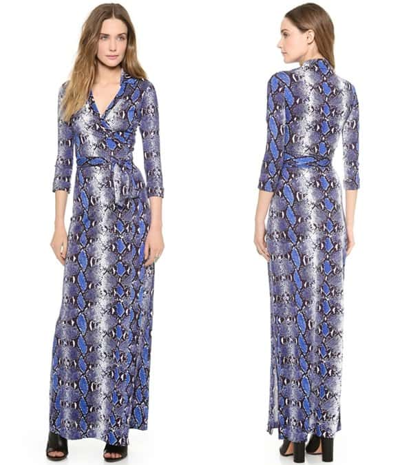 An allover python print brings exotic flair to a signature DVF wrap dress