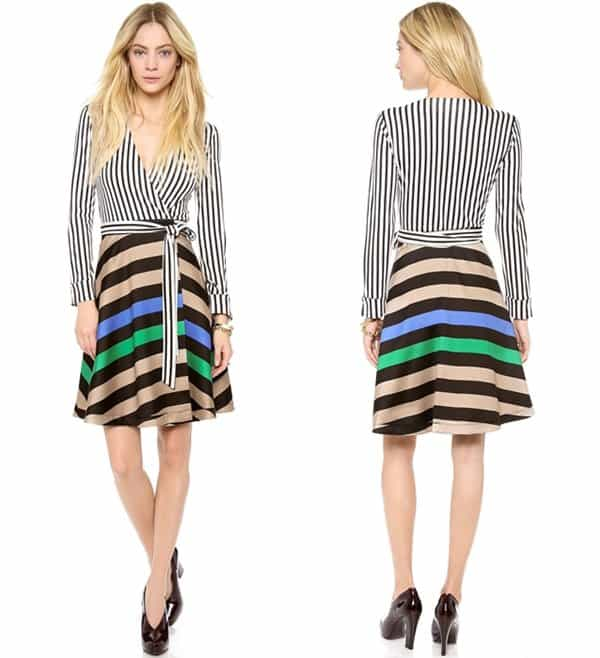 Contrast stripes and a bold chevron pattern mix on a retro-inspired DVF wrap dress