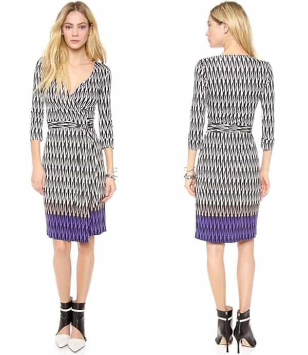 A signature DVF wrap dress with an op-art print on slinky silk jersey