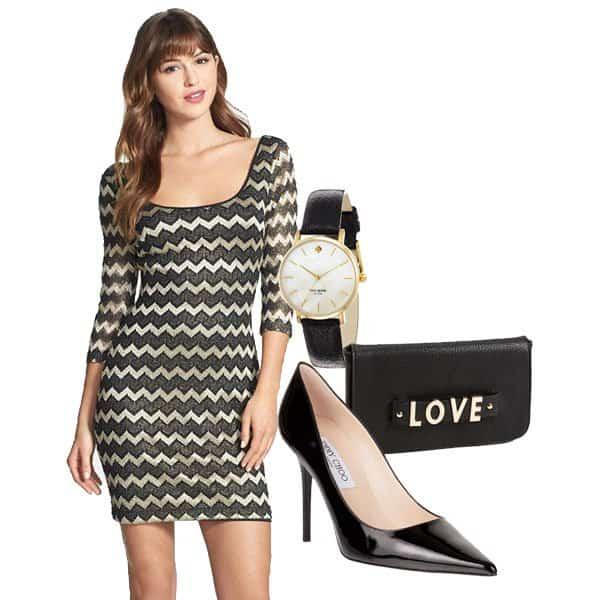 Metallic stripe lace sheath dress with black pointy pumps, Love handbag and watch