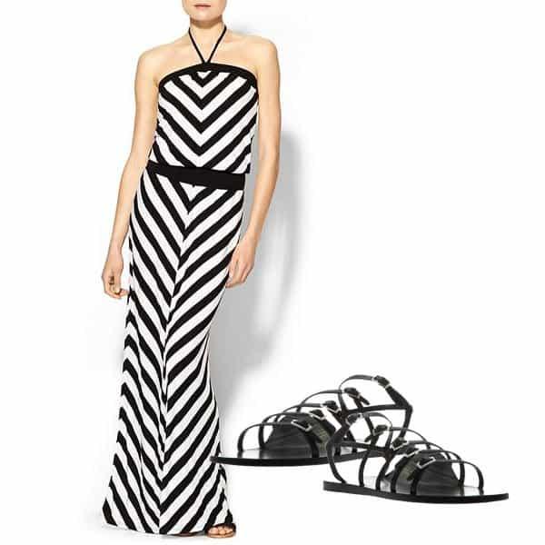 Chevron-striped maxi dress with flat sandals