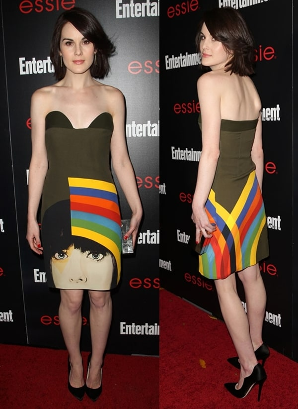 Michelle Dockery wearing an olive green Prada shift dress at Entertainment Weekly's Screen Actors Guild Party held at Chateau Marmont in Los Angeles on January 17, 2014
