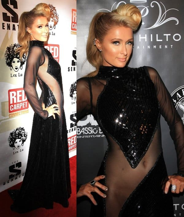 Paris Hilton at P. Diddy's pre-Grammy party at Boulevard 3 in Hollywood on January 23, 2014