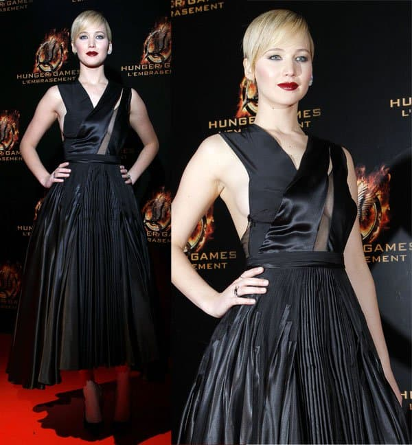 Jennifer Lawrence at the premiere of The Hunger Games: Catching Fire in Paris, France, on November 15, 2013
