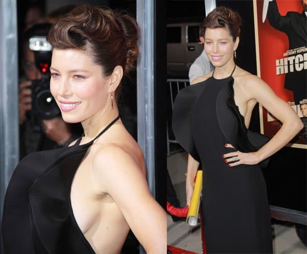 Jessica Biel in a ruffled full-length dress by Gucci that showed a healthy amount of her side bosom