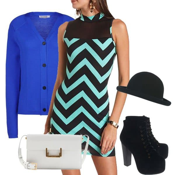 Mesh-onset mock neck dress with blue cardigan, hat, purse and ankle boots