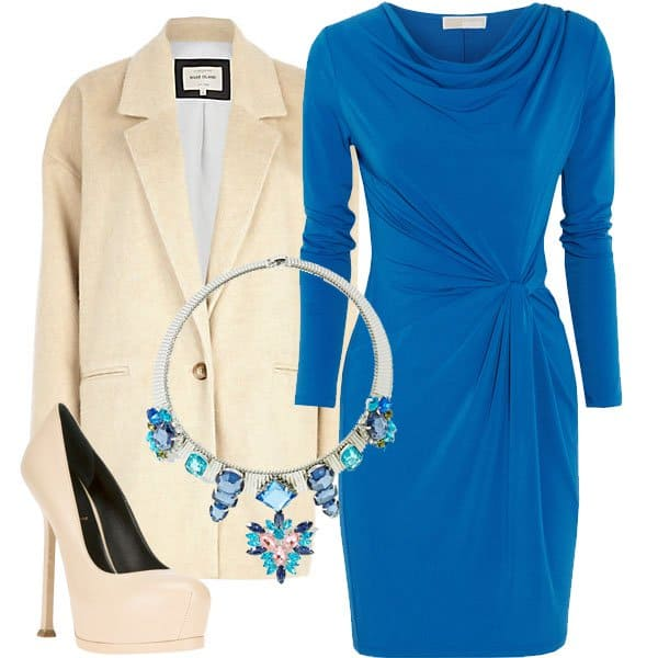 Tie knot dress with coat, pumps, and statement necklace