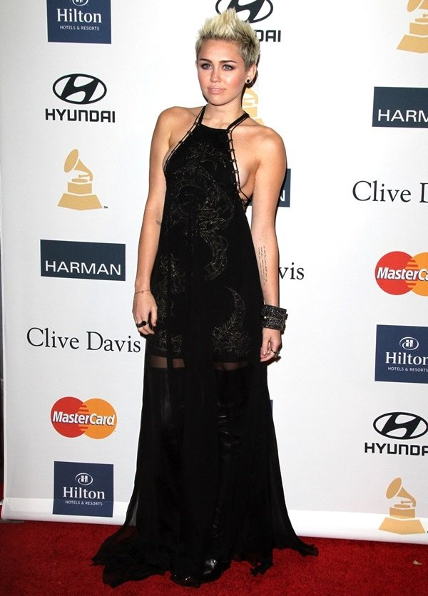 Miley Cyrus at the Clive Davis & The Recording Academy's 2013 Pre-Grammy Gala and Salute to Industry Icons