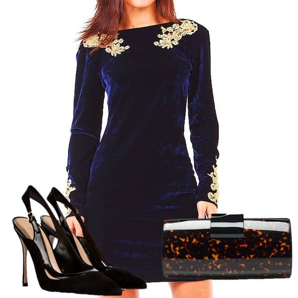 Embellished velvet dress with high heels and stunning clutch