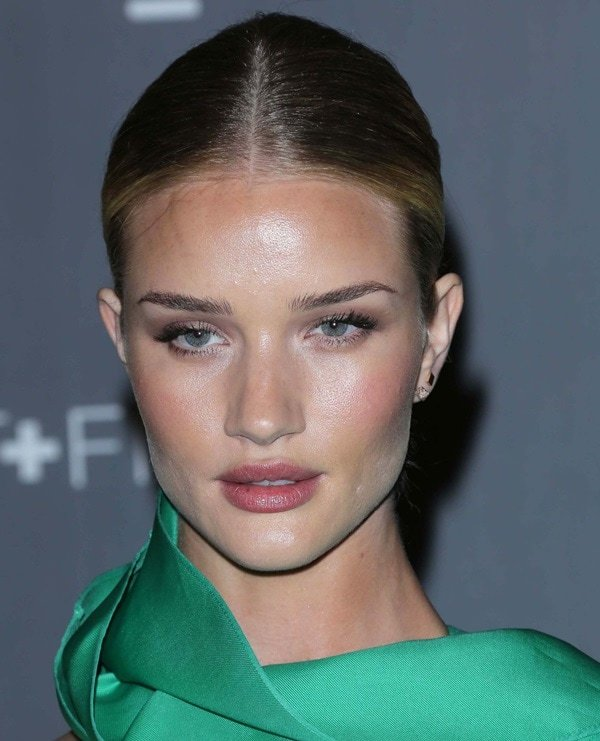 Rosie Huntington-Whiteley put her hair up in a classic bun