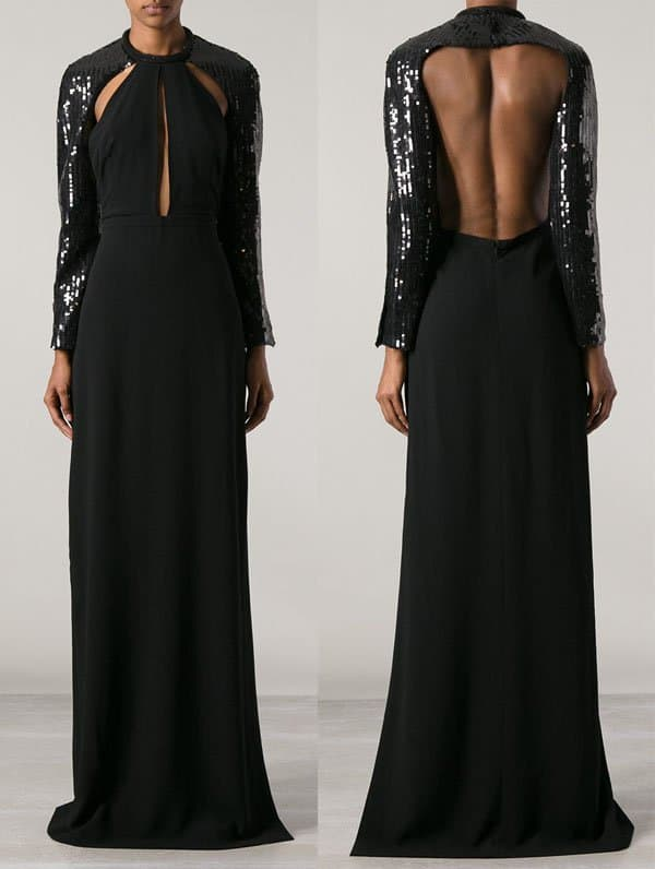 Saint Laurent Embellished Evening Gown