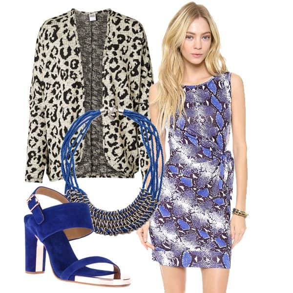 Effortless dress by DVF with cardigan, necklace, and sandals