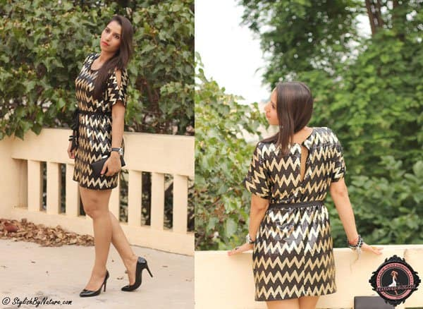 Shalini styled her metallic chevron dress with black pointy shoes