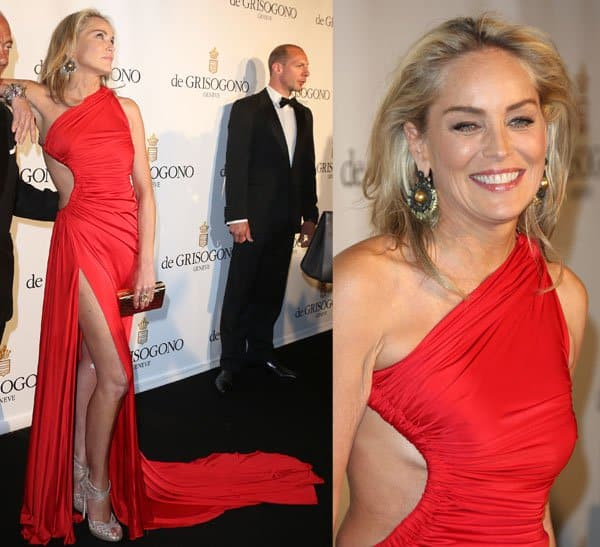 Sharon Stone in a gorgeous red Roberto Cavalli gown