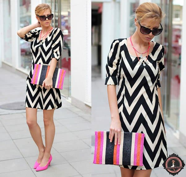 Sirma styled a Winter Lennon chevron dress with a Zara clutch and pink H&M heels