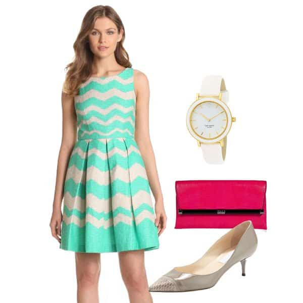 Green chevron stripe dress with neutral pumps, pink clutch bag and watch