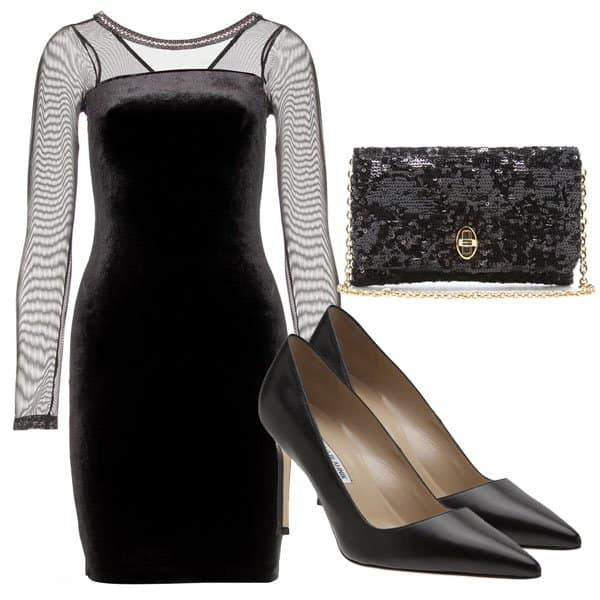 Velvet dress with clutch and Manolo Blahnik shoes