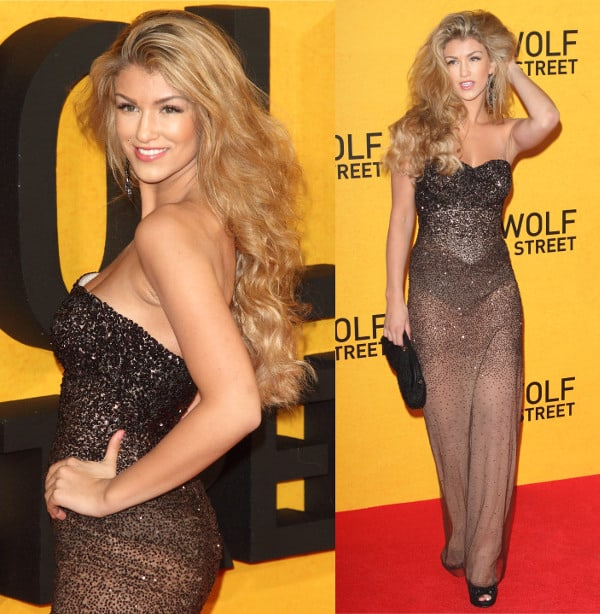 Amy Willerton in a sparkling sheer dress at the premiere of The Wolf of Wall Street at the Odeon Leicester Square in London, England, on January 9, 2014