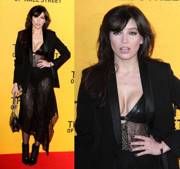 Daisy Lowe in a low-cut sheer dress at the premiere of The Wolf of Wall Street at the Odeon Leicester Square in London, England, on January 9, 2014