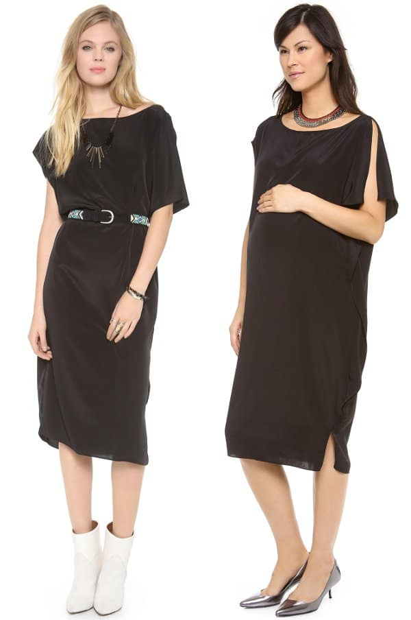 A relaxed sateen dress with a touch of cool asymmetry