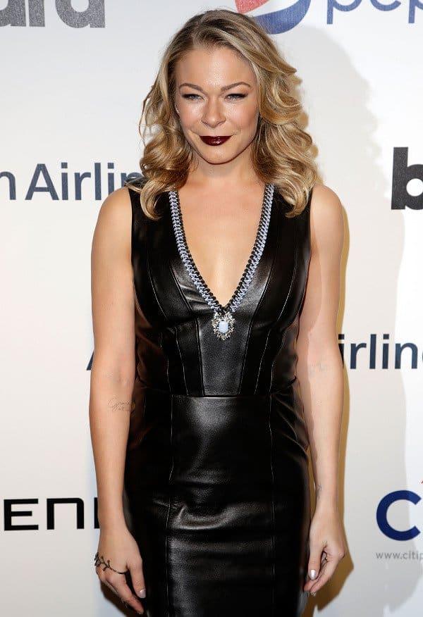 LeAnn Rimes in black leather dress