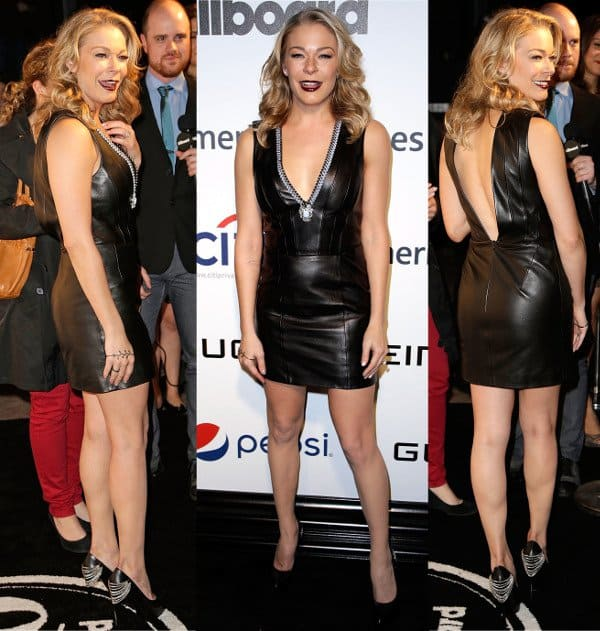 LeAnn Rimes in plunging leather dress