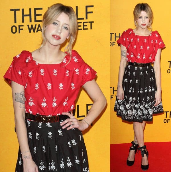 Peaches Geldof in an embroidered Moschino dress for The Wolf of Wall Street premiere at the Odeon Leicester Square in London, England, on January 9, 2014