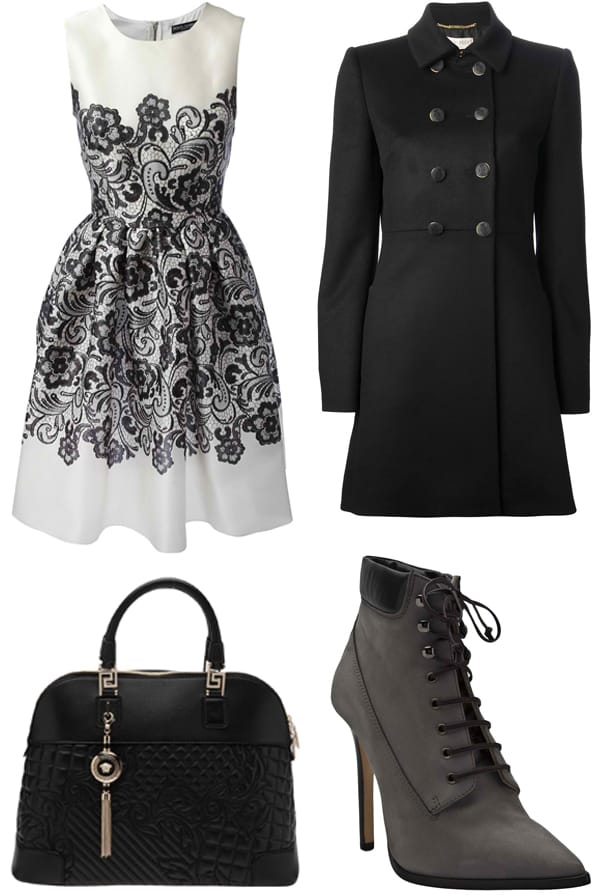 Coat, handbag, and boots styled with a fit and flare dress