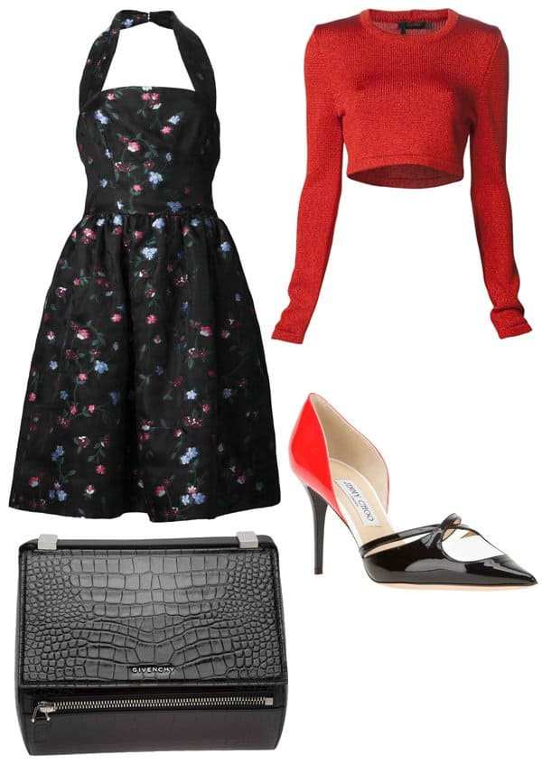 Sweater, purse, and pumps styled with a fit and flare dress