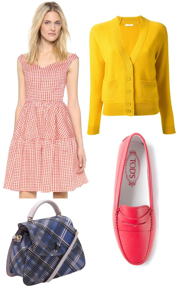 Cardigan, purse, and loafers styled with a fit and flare dress