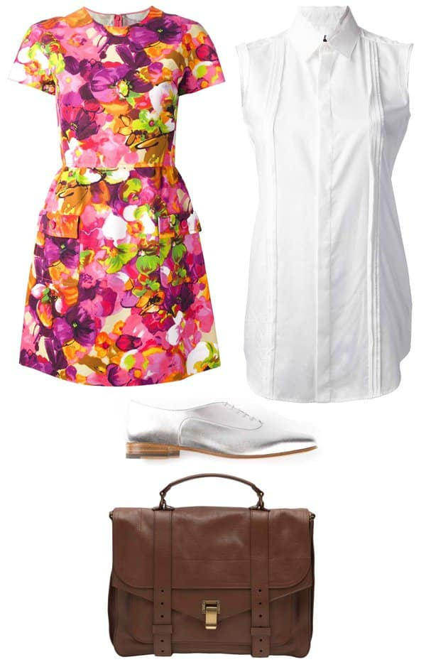 Collared shirt, handbag, and shoes styled with a fit and flare dress
