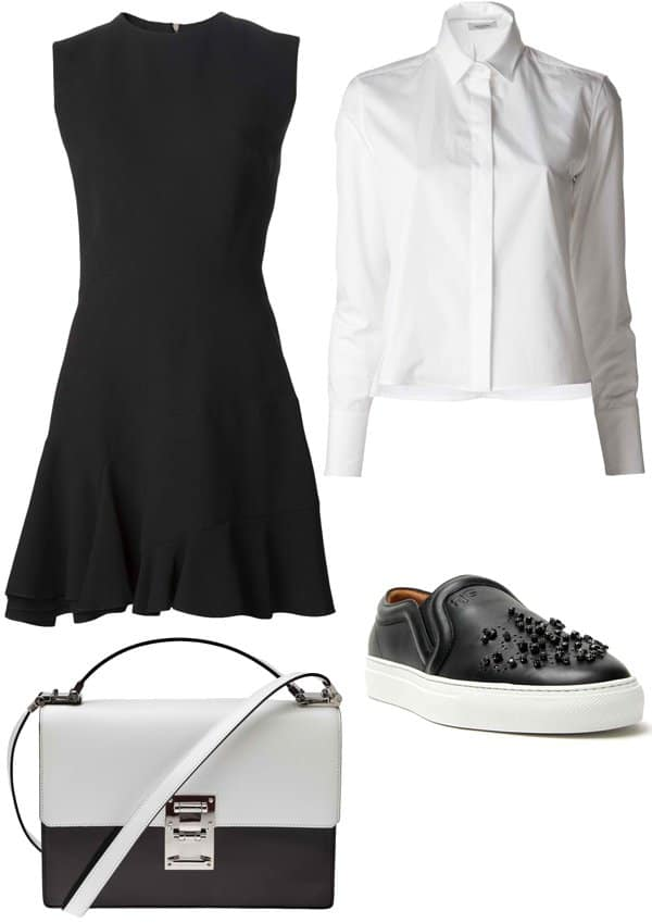 Long-sleeve shirt, handbag, and shoes styled with a fit and flare dress