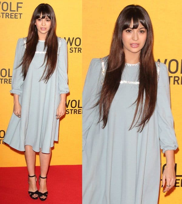 Zara Martin showing up in a powder blue midi-length dress at the premiere of The Wolf of Wall Street at the Odeon Leicester Square in London, England, on January 9, 2014