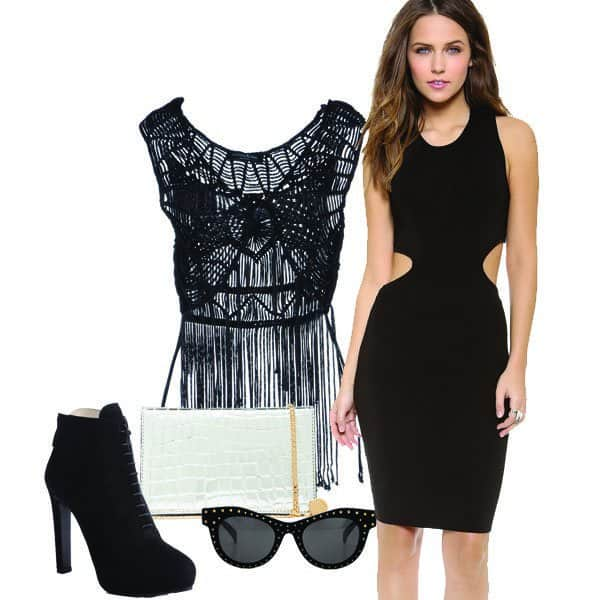 Formfitting AQ/AQ sweater dress with fringe top, ankle boots and sunglasses