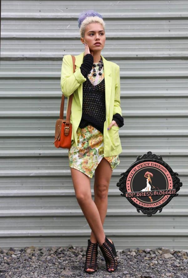 Alanna screams spring in neon green blazer and floral-printed mini dress