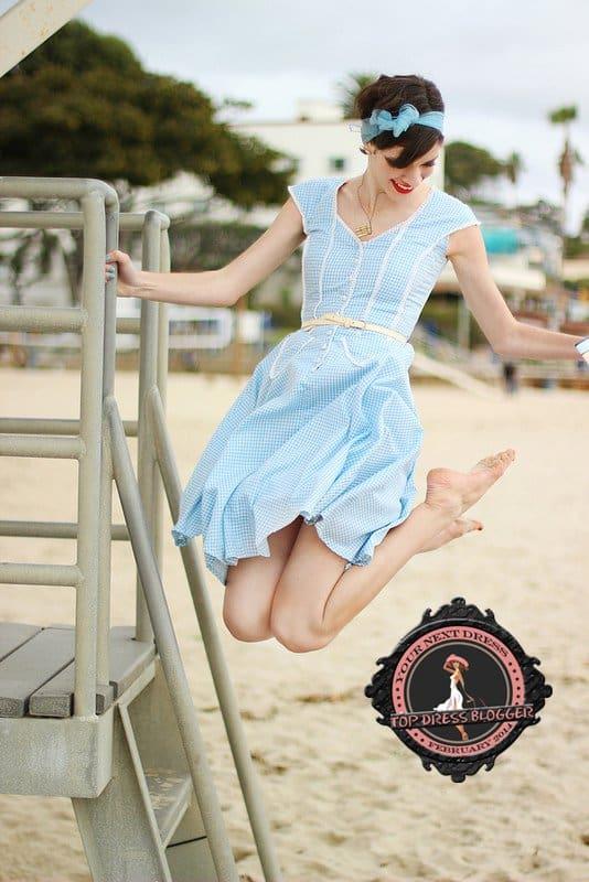 Alexandra channels '50s look in gingham dress