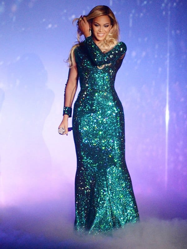 The all-sparkly dress was custom-made by Greek designer Vrettos Vrettakos