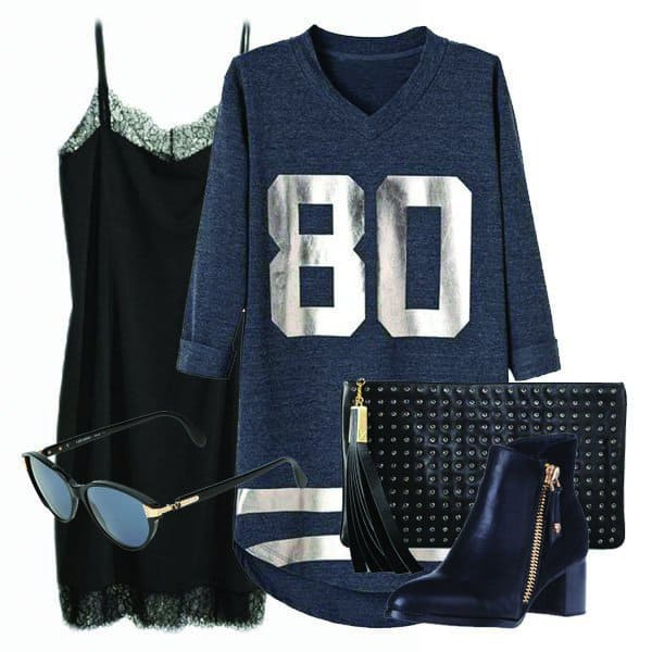 Gray jersey dress with ankle boots, sunglasses, and studded clutch