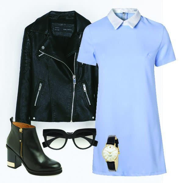 Light blue shift dress with ankle boots, motorcycle jacket, glasses and watch