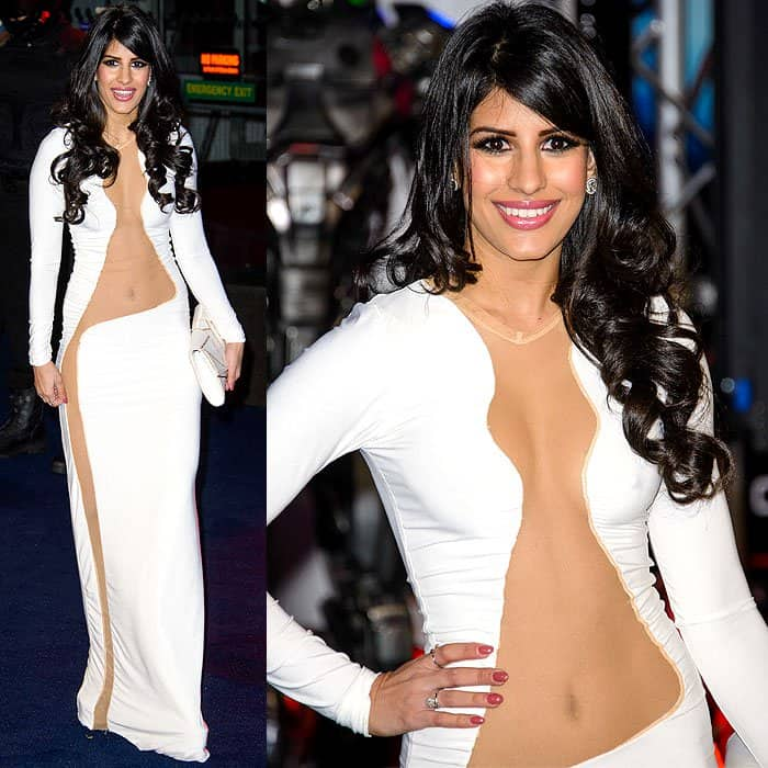 Here is the white evening gown we spotted on British reality TV actress Jasmin Walia at the world premiere of 'Robocop' yesterday evening