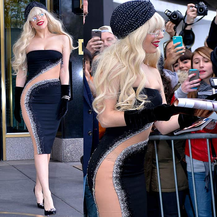 Lady Gaga wearing Atalier Versace's strapless dress