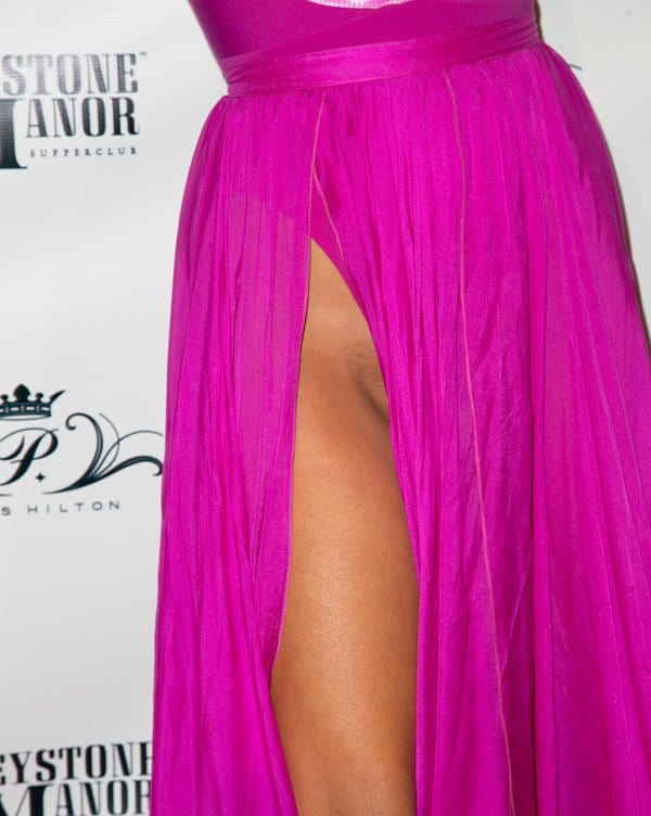 Paris Hilton Shows Off Her Naughty Bits In Pink Barbie Dress