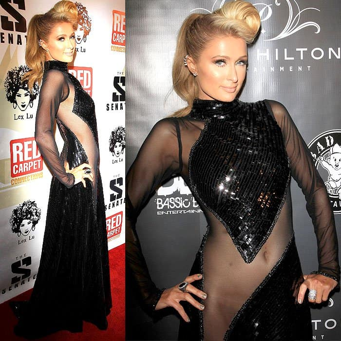 Paris Hilton was seen wearing one such dress by Haus of Milani