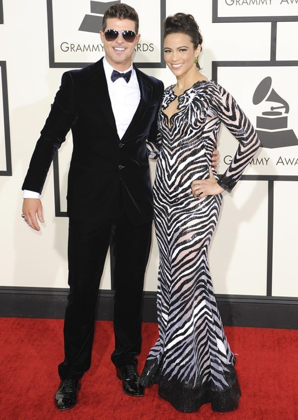 Paula Patton and Robin Thicke at the 56th Grammy Awards