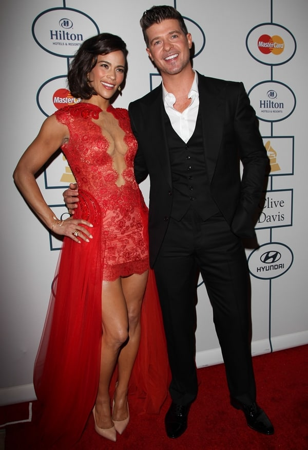 Paula Patton and Robin Thicke at the Pre-Grammy Gala and Grammy Salute to Industry Icons