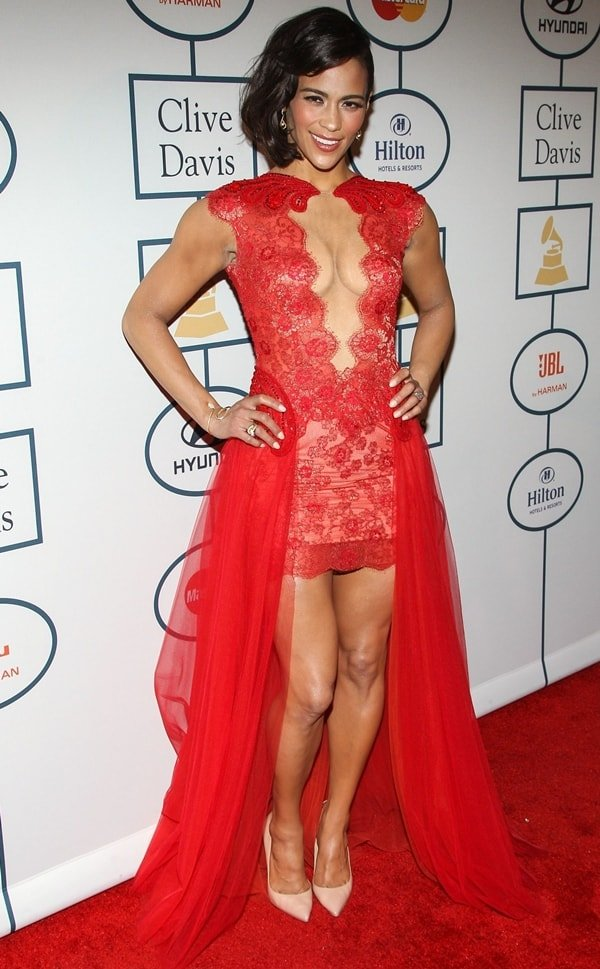 Paula Patton wore a Mireille Dagher dress with Christian Louboutin heels and David Yurman jewelry