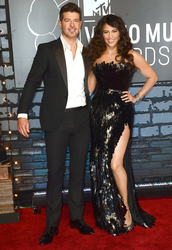 Paula Patton and Robin Thicke at the 2013 MTV Video Music Awards