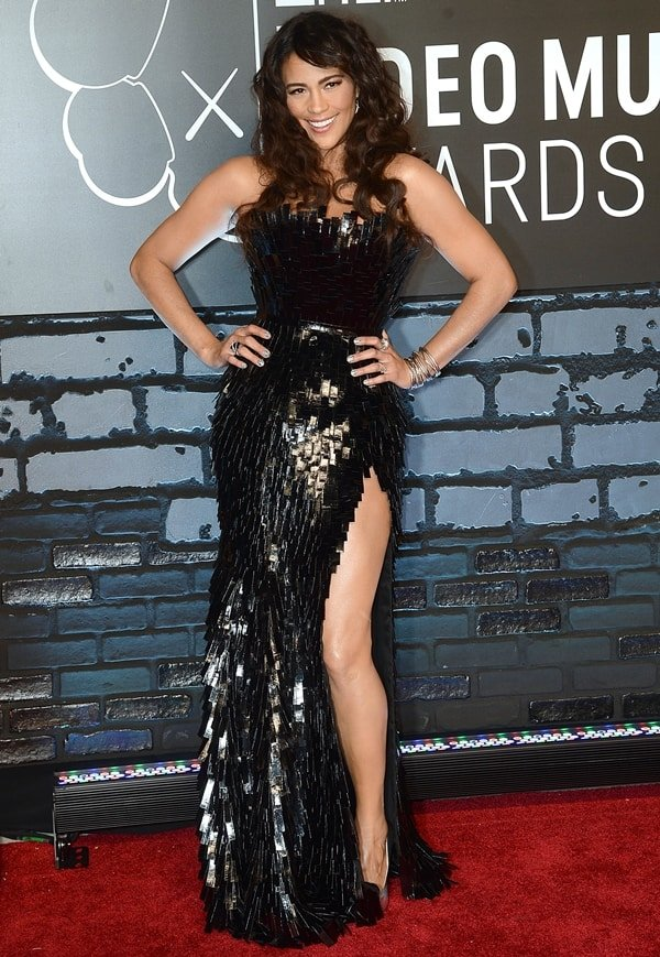 Paula Patton wore her black strapless embellished high-shine dress with Giuseppe Zanotti heels